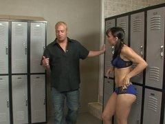 Tattooed brunette gets hard anal bang in the locker rooms