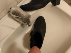 Piss in wifes black ankle boot