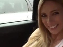 Amazing blonde teen girl squirting in car