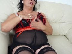 horny mama loves to get wet on her couch