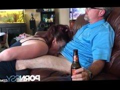 Wife sucks old mans dick