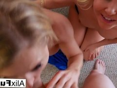 Alix and Aaliyah give a birthday double BJ!