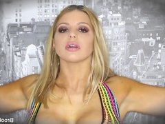 Blonde Brooklyn gets a load on her huge tits