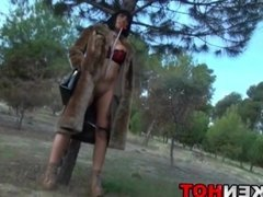 Krakenhot public nudity and submission with big tits girl.