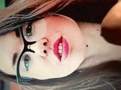 Masha in glasses sexy red lips cum tribute