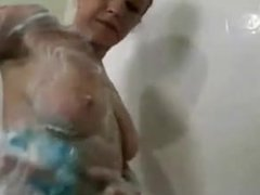 Amateur Wife showers and soaps her hot body
