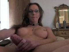 Hot amateur Shemale with Glasses jerks it hard