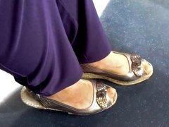 granny nylon feet and long toenails