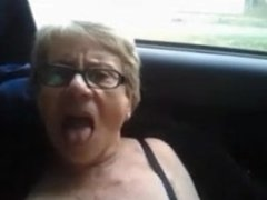 Granny squirts in car outside
