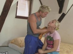 Blonde screwed from behind for cheating