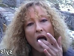 2 lesbians flashing in marina with dildos and anal strapon