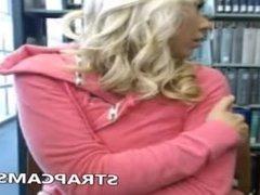 Horny blonde teen in library masturbating