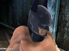 3D cartoon Joker getting fucked hard in the ass by Batman