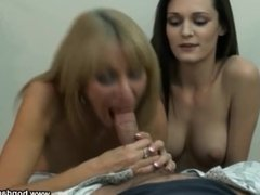 mom and daughter share a cock
