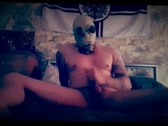 Gas mask tied balls cum
