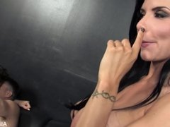 Busty Alison and Romi share a hard cock