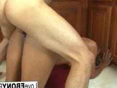 Tall brunette Jordin Skye has interracial sex in the kitchen