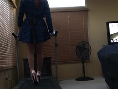 Trans Girl Exercise in Sky High Heels