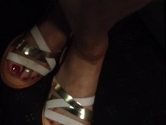 Candid Sexy Woman Feet in Sandals on Train Face