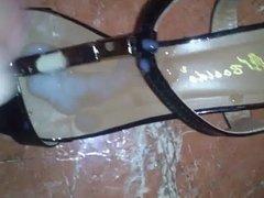 Cum in MILF's flat shoe sandal