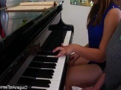 Brunette hottie gets her hairy pussy pleasured by her piano teacher