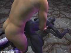 3D cartoon alien sucks cock and gets fucked hard in the ass
