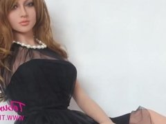 Real life sex doll brunette beauty MILF with big tits