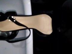 Cumming on Sister's Black Peep Toe Chunky Heels