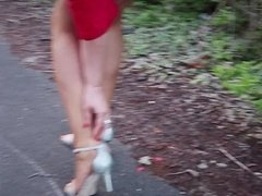 Voyeur Foot fetish action with nylon feet of a horny milf