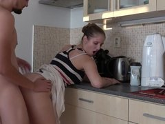 nice milf with nice ass fucked doggy hard in kitchen
