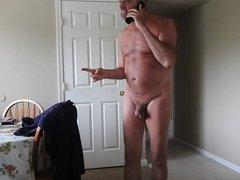 Mature man having a phone conversation.