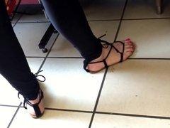 Candid Pretty Feet Lady on the Phone