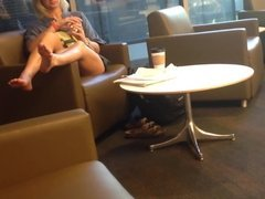 Candid Blonde Feet & Soles at Library