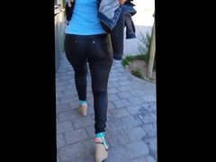 Leather pants ass in streets