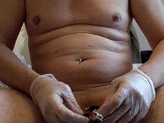 urethral probe deep in cock prostate e--stim