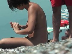 Nudist beach voyeur vid with two gorgeous brunettes all nake