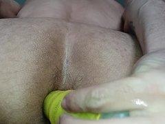 hairy asshole dildo play