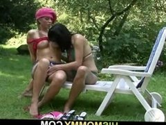 Busty mommy lures teen into pussy licking