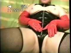 P.v.c sex slut,,pvc gloves fishnets, ,,