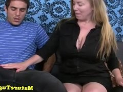 Bigtitted milf jerks cock over big boobs