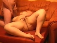 Mature Mom and her boy! Cumshot on her big tits!
