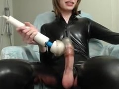Great cock on femboy in latex solo
