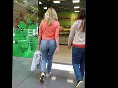 Blond girl with big hot ass