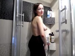 Big tit girl takes a shower