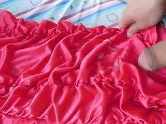 Cumming on Lilly's Slutty, Tight, Pink Dress
