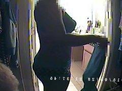 Ebony babe: Taking off workout clothes (spy cam)