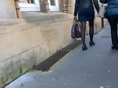 Woman with high heels and pantyhose walking