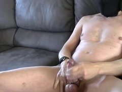 bondage jerking session with cumshot filmed in 3 angles