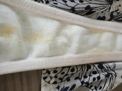 French lover cum on my wife white dirty panty