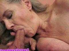 Bigtits grandma sucks big cock in closeup